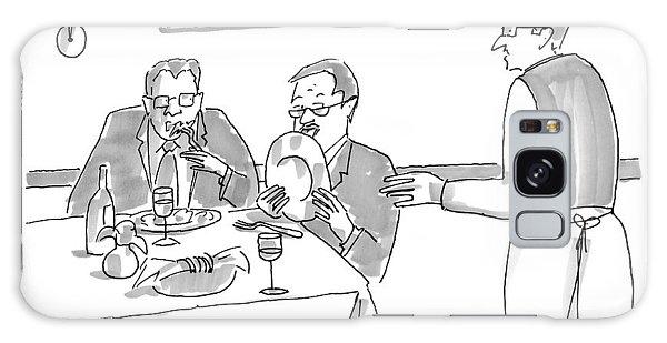 A Man Licks His Plate Clean At A Restaurant Galaxy Case