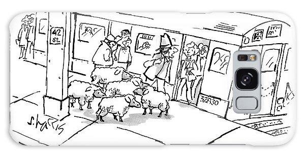 Trains Galaxy Case - A Man On The Subway Platform With Five Sheep by Sidney Harris