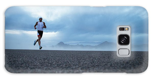 Cloudscape Galaxy Case - A Man Running Out By The Bonneville by Mike Schirf