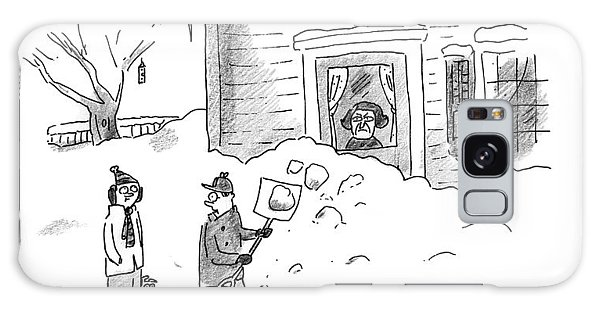 A Man Shoveling Snow Addresses A Person Galaxy Case