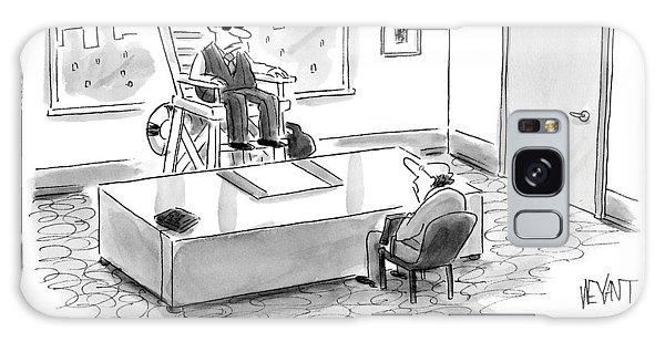 A Man Sits In A Tall Lifeguard Chair Galaxy Case