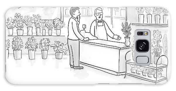 A Man Speaks With An Assistant At A Flower Shop Galaxy Case