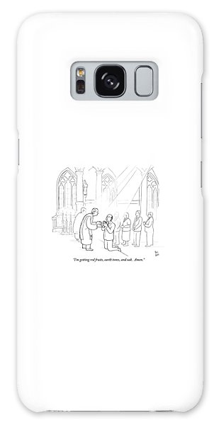 Communion Galaxy Case - A Man To Priest As He Drinks The Wine by Paul Noth