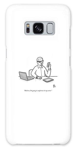 A Man Wearing Google Glasses Galaxy Case