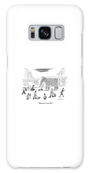 A Man With An Elephant Speaks On The Phone Galaxy Case