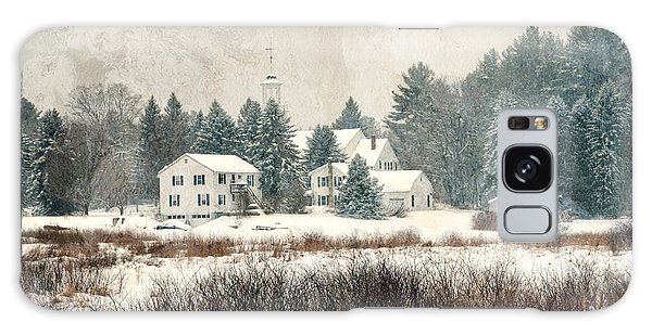 A New England Village In Winter- Antique - Textured Galaxy Case