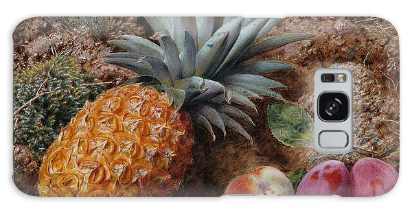 A Pineapple A Peach And Plums On A Mossy Bank Galaxy Case by John Sherrin
