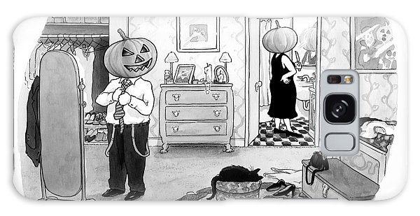 A Pumpkin Headed Couple Get Dressed.  The Woman Galaxy Case