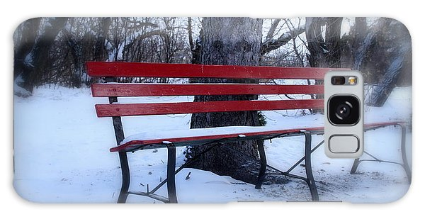 A Red Bench Waiting For Spring Galaxy Case