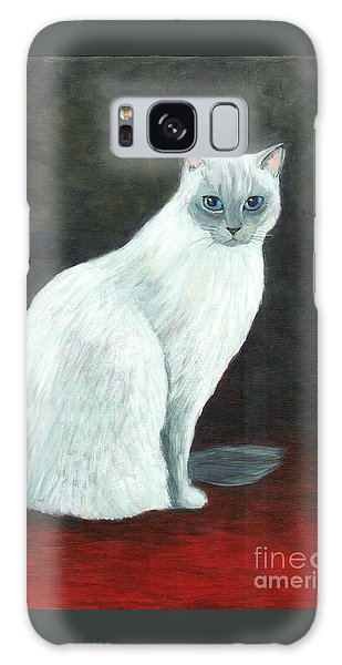 A Siamese Cat On Red Mat Galaxy Case