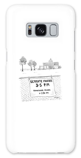 A Sign On A Fence Reads: Ultimate Frisbee 3-5 Pm Galaxy Case