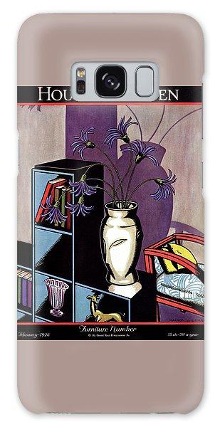 A Skyscraper Style Bookcase With A Vase Galaxy Case