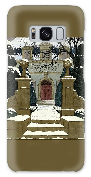 A Snow Covered Pathway Leading To A Mansion Galaxy Case