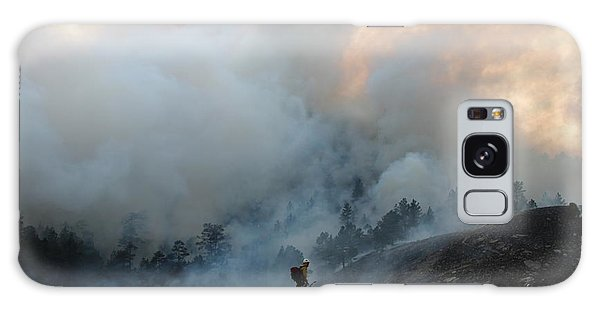 A Solitary Firefighter On The White Draw Fire Galaxy Case by Bill Gabbert