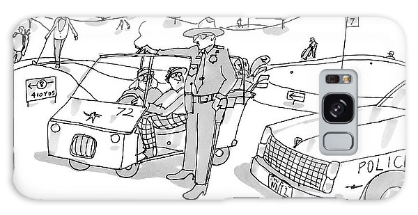 Cart Galaxy Case - A State Trooper Stops A Golf Cart On A Golf by Michael Crawford