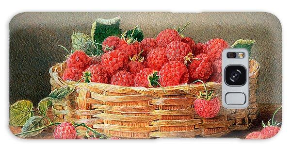 A Still Life Of Raspberries In A Wicker Basket  Galaxy Case by William B Hough