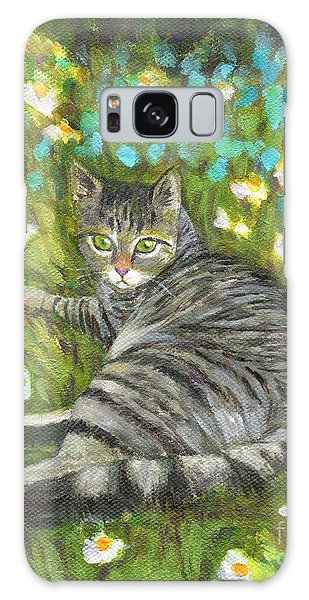 A Striped Cat On Floral Carpet Galaxy Case