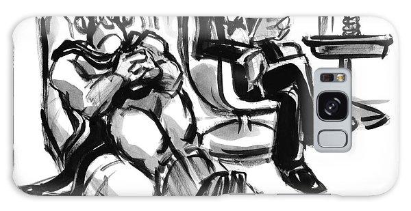 A Superhero Lays In A Chair Talking Galaxy Case