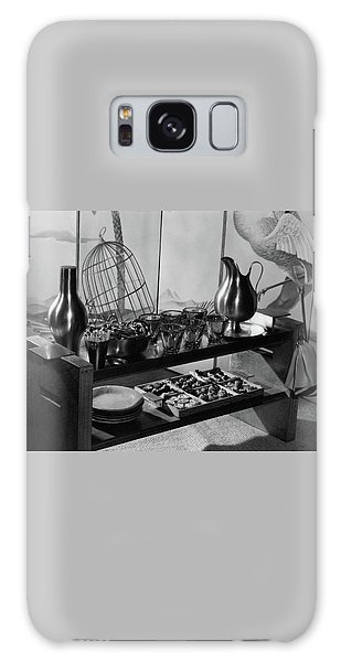A Table With Tableware And Snacks Galaxy Case