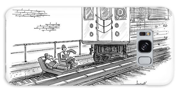 Trains Galaxy Case - A Therapist Speaks To A Patient On Train Tracks by Tom Cheney