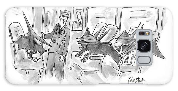 Trains Galaxy Case - A Train Conductor Makes An Announcement To A Car by Ken Krimstein