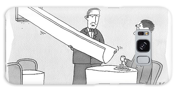 A Waiter Holds A Large Chute Over A Man's Plate Galaxy Case