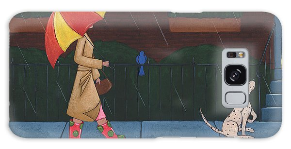 A Walk On A Rainy Day Galaxy Case by Christy Beckwith