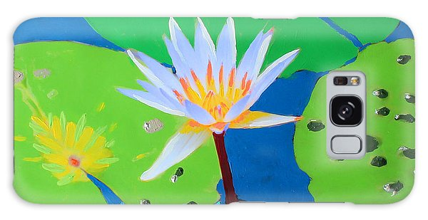 Galaxy Case featuring the mixed media A Water Lily In Its Pad by Deborah Boyd