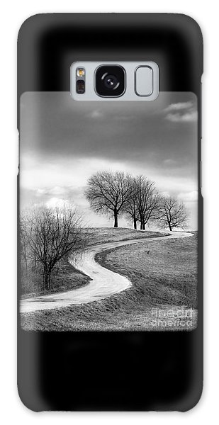 A Winding Country Road In Black And White Galaxy Case