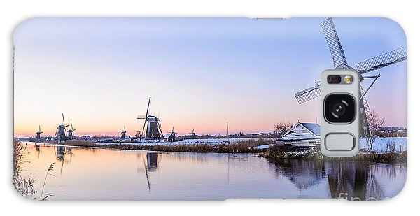 A Cold Winter Morning With Some Windmills In The Netherlands Galaxy Case by IPics Photography