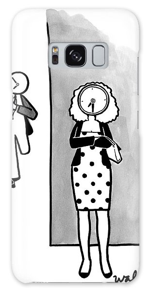A Woman Dressed Up For A Date Waits Impatiently Galaxy Case