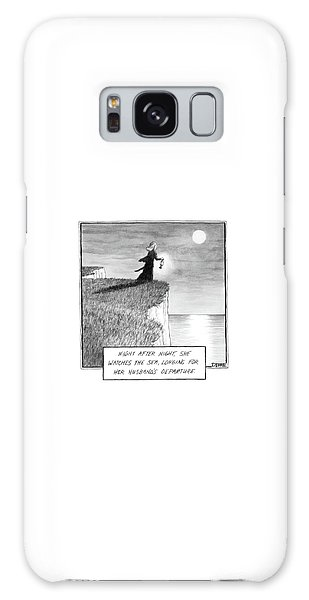 A Woman Runs In The Dark Toward A Cliff Galaxy Case