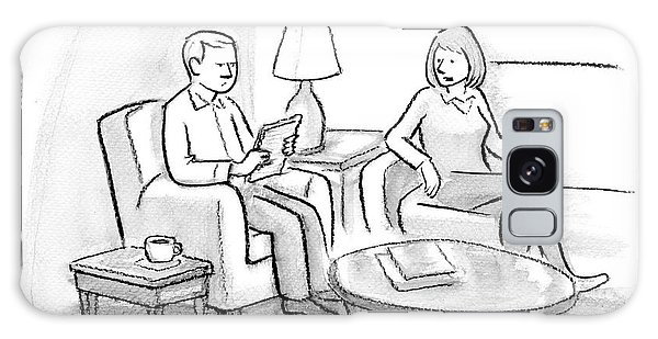 A Woman Speaks To A Man. Both Are Seated Galaxy Case