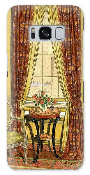 A Yellow Library With A Vase Of Flowers Galaxy S8 Case