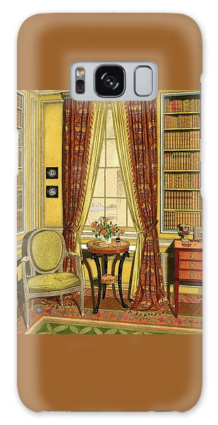 A Yellow Library With A Vase Of Flowers Galaxy Case