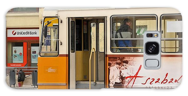 A Yellow Tram On The Streets Of Budapest Hungary Galaxy Case