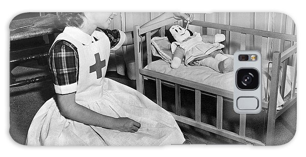 Recycle Galaxy Case - A Young Girl Plays Nurse To Her Little Lulu Doll. by Underwood Archives