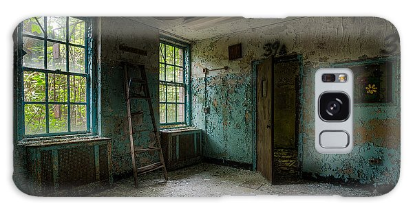 Galaxy Case featuring the photograph Abandoned Places - Asylum - Old Windows - Waiting Room by Gary Heller