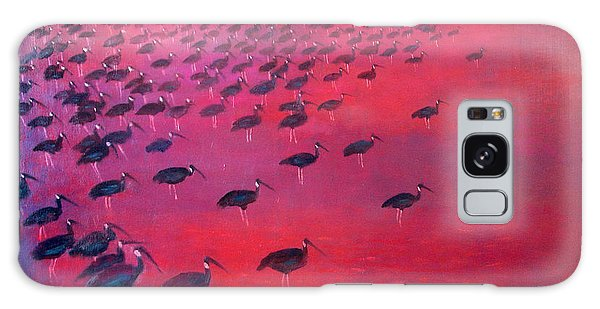 Hundred Galaxy Case - About 250 White Shouldered Ibis Oil On Canvas by Charlie Baird