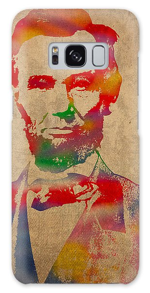 Abraham Lincoln Watercolor Portrait On Worn Distressed Canvas Galaxy Case by Design Turnpike