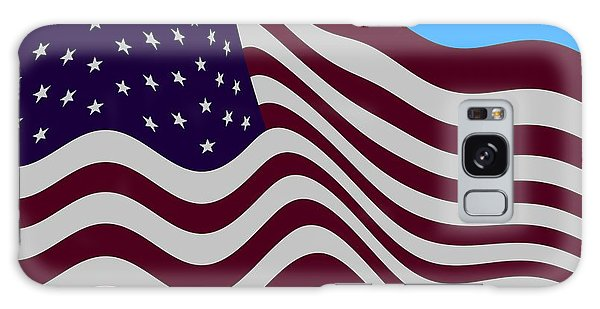 Abstract Burgundy Grey Violet 50 Star American Flag Flying Cropped Galaxy Case