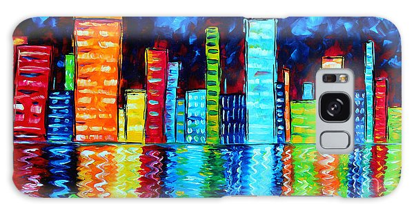 Abstract Art Landscape City Cityscape Textured Painting City Nights II By Madart Galaxy Case
