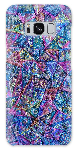 Abstract Blue Rose Quilt Galaxy Case by Jean Fitzgerald