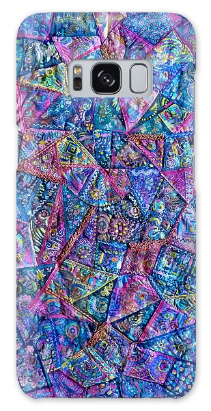 Abstract Blue Rose Quilt Galaxy Case