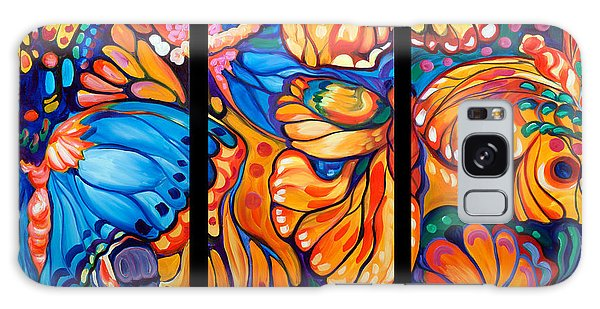 Abstract Butterflies Triptych Galaxy Case by Marcia Baldwin