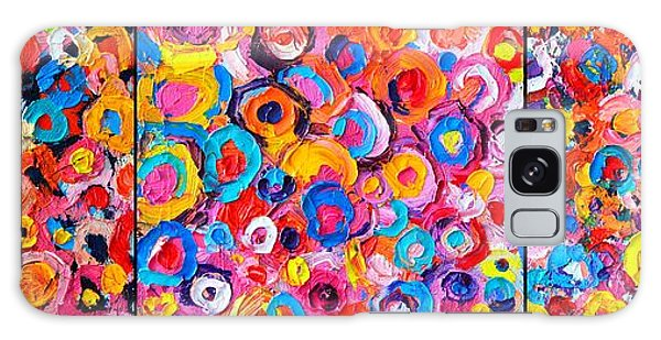 Abstract Colorful Flowers Triptych  Galaxy Case