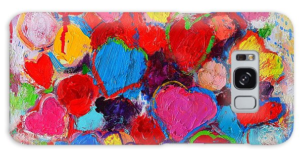 Abstract Love Bouquet Of Colorful Hearts And Flowers Galaxy Case