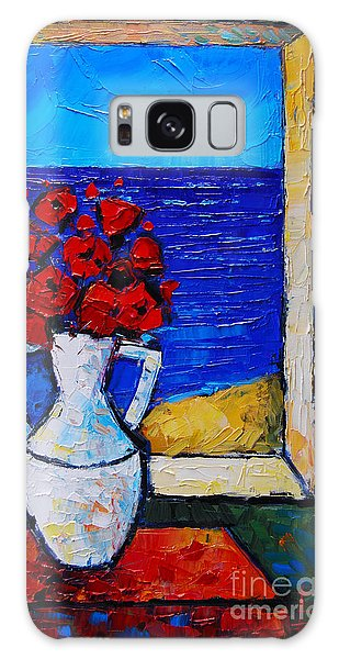 Abstract Poppies By The Sea Galaxy Case