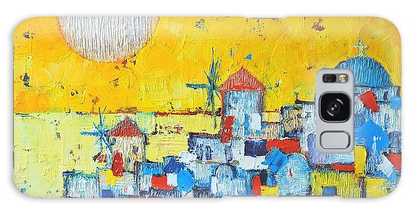 Islands In The Sky Galaxy Case - Abstract Santorini - Oia Before Sunset by Ana Maria Edulescu