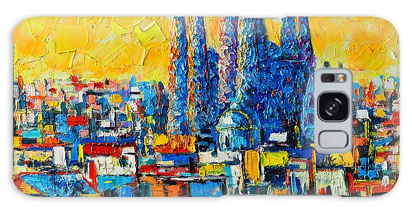Modern Galaxy Case - Abstract Sunset Over Sagrada Familia In Barcelona by Ana Maria Edulescu